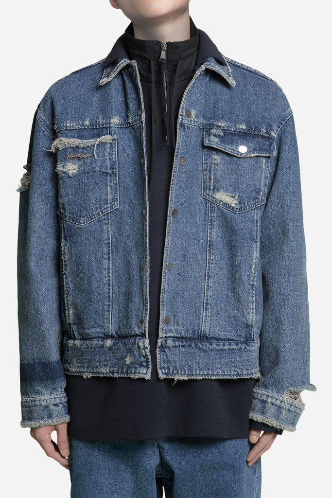 Lou Heavily Distressed Cropped Jacket Dry Velvet Wash