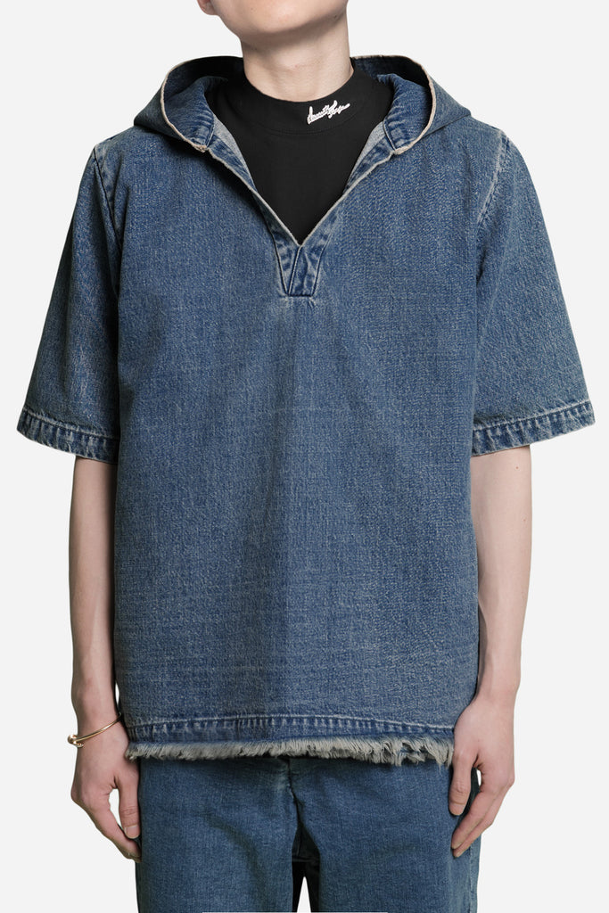 Hooded Open Collar Mandarin Shirt Dry Velvet Wash