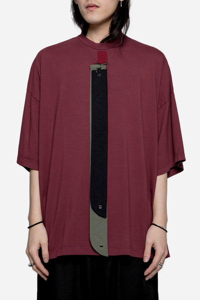 Komakino - Oversized Jersey Tee with Detachable Straps Burgundy