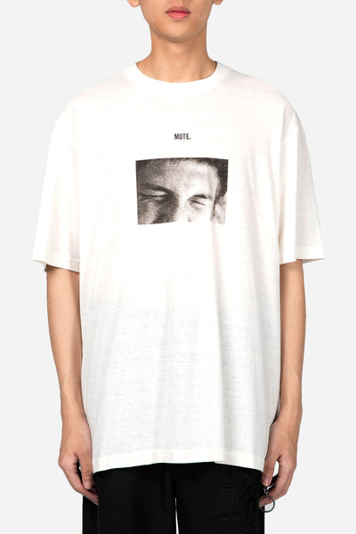 "Song for the mute - ""Mute"" Print Oversized Tee White"