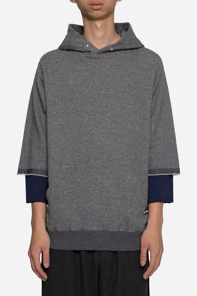 Undercover - John Undercover 3/4 Hoodie with Shirting Detail Charcoal