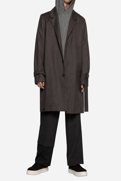 John Undercover 3/4 Hoodie with Shirting Detail Charcoal