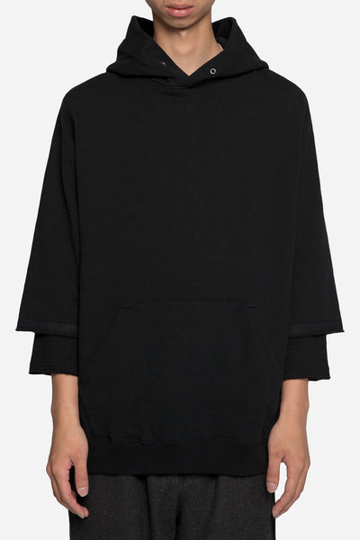 undercover - John Undercover 3/4 Hoodie with Shirting Detail Black