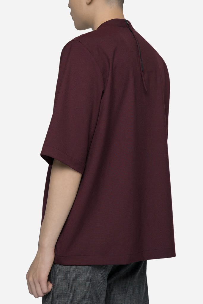 Jess Mock Zip Logo Tee Merlot Red
