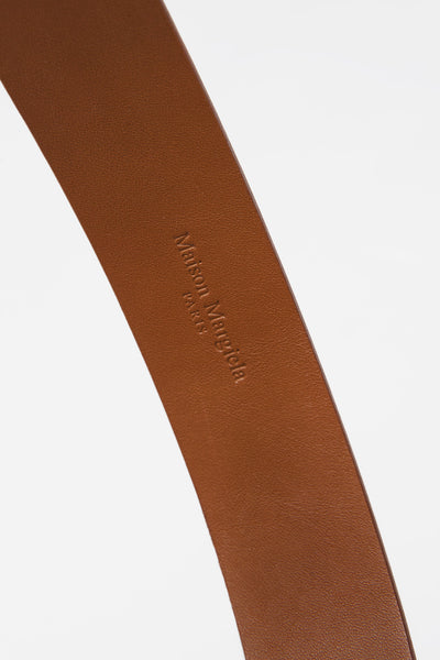Chain Calf Leather Belt Brown