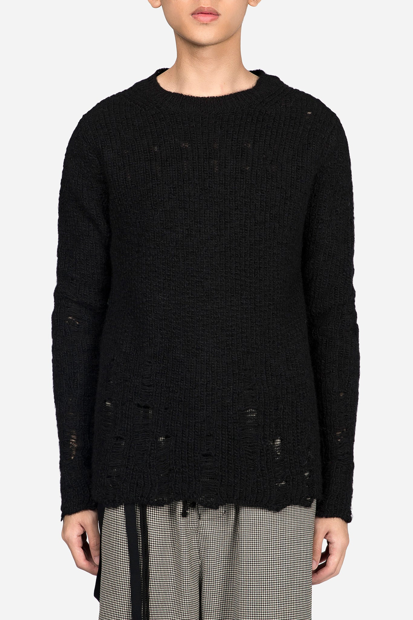 Oversized Distressed Knit Black