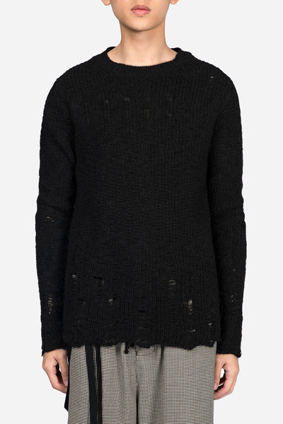 Song for the mute - Oversized Distressed Knit Black