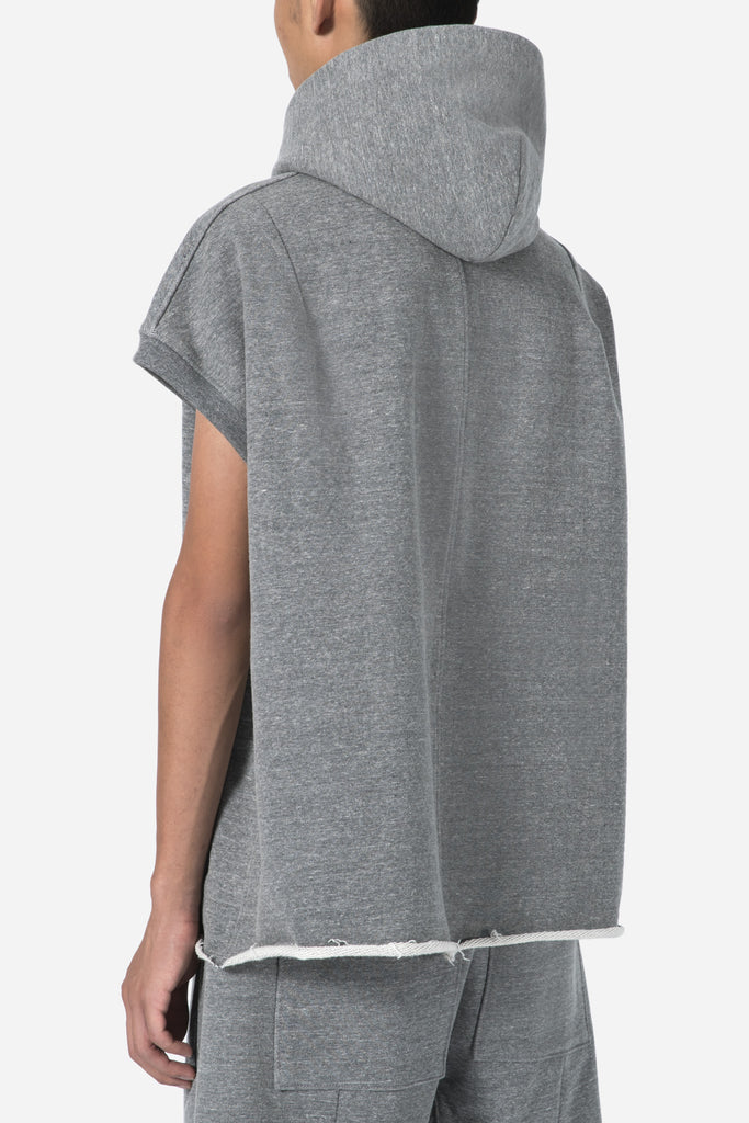 Heavy Terry Muscle Hoodie-Heather Grey
