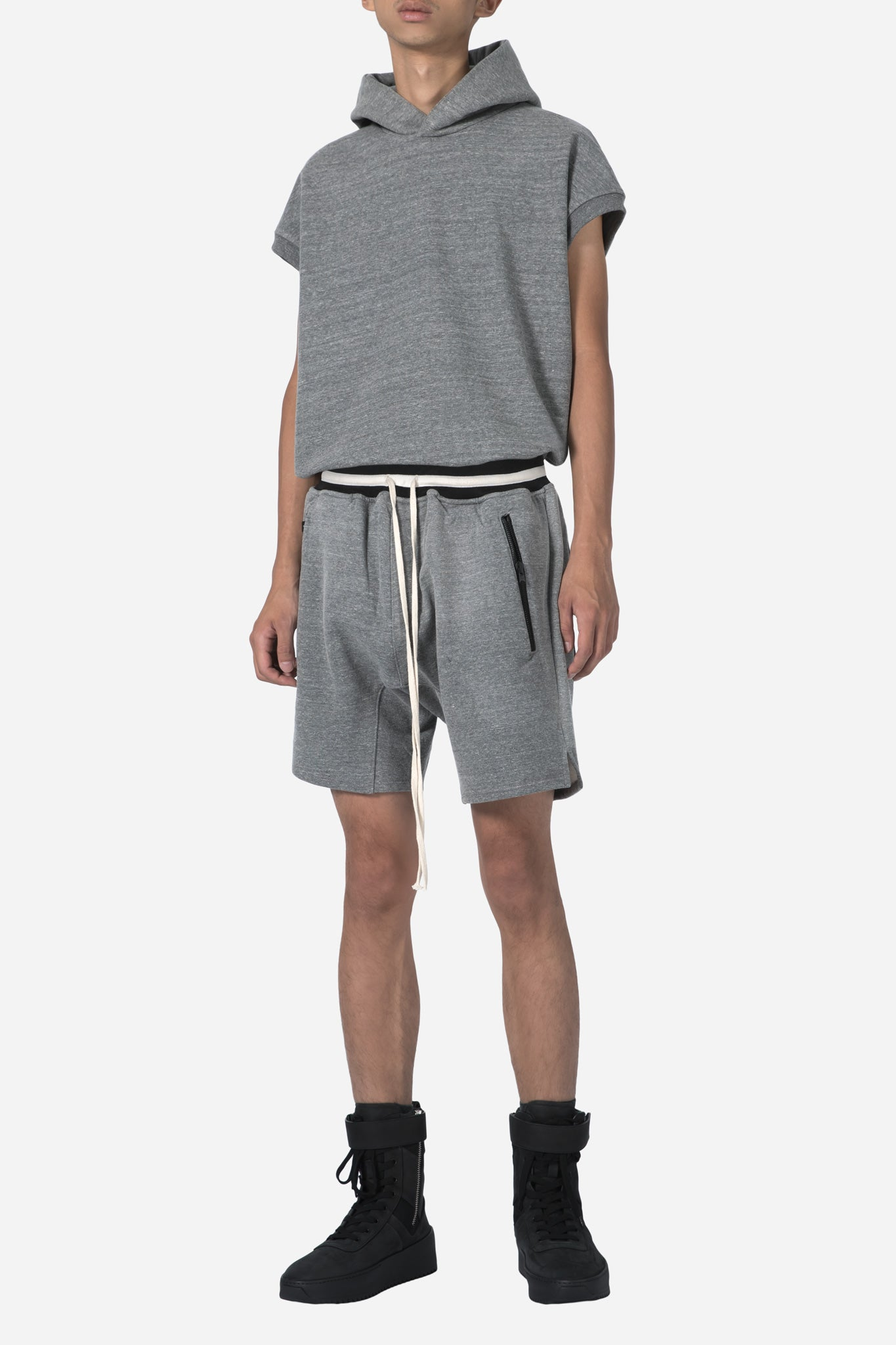 Heavy Terry Sweatshort-Heather Grey