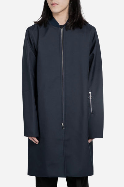 Agi & Sam - Long Bomber Jacket Navy