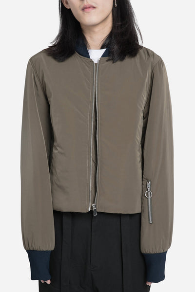 Agi & Sam - Cropped Bomber Jacket Green