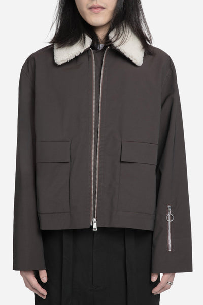 Agi & Sam - Harrington with Shearling Collar Brown
