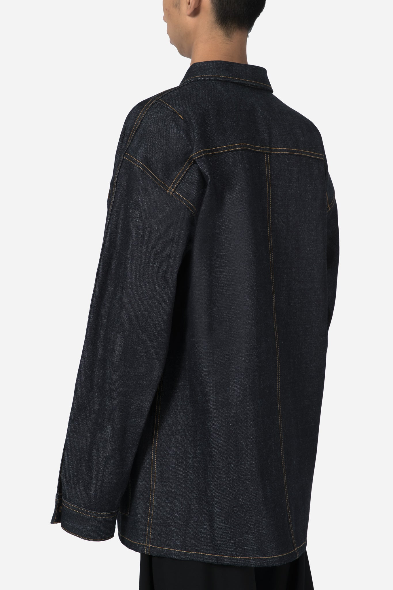 Raw Selvedge Denim Long Jacket-Raw Indigo