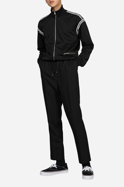 Elasticized Waist Carrot Fit Trousers Black