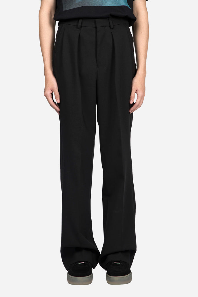 Box Pleated Wide Trousers Black