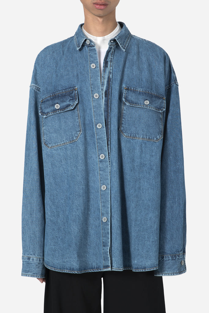 Denim Oversized Shirt-Vintage Indigo