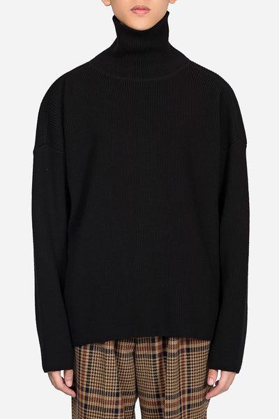 AMI - Oversized Fit Turtleneck Sweater Black