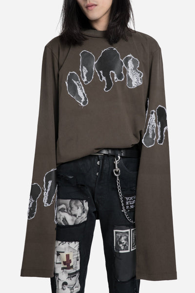 damir doma - Turner Long Sleeve Printed Tee Smoked Brown