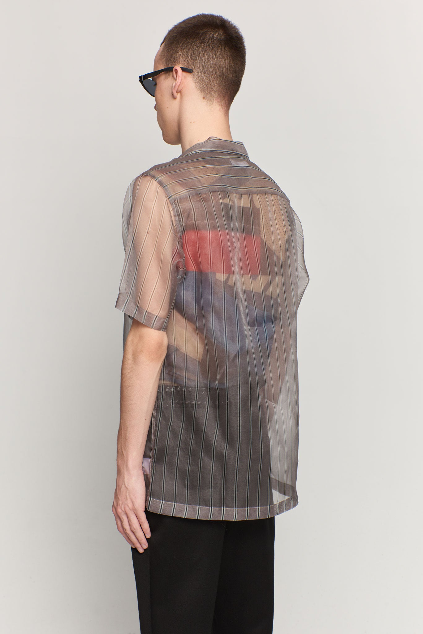 Duncan Printed Silk Grey Stripe