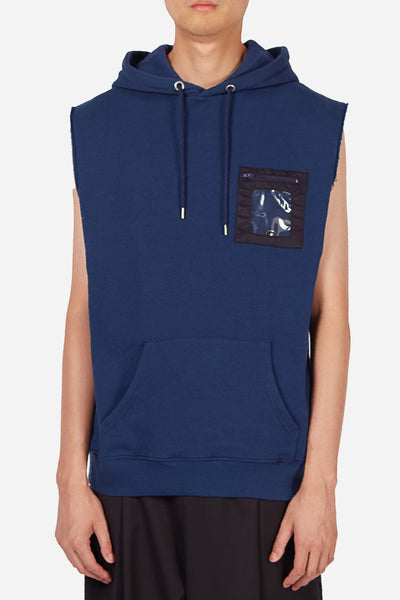 Dust - Style 3A Navy Sleeveless Hoodie with Plastic Pocket