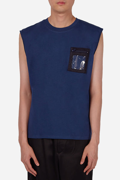 Dust - Style 1A Navy Sleeveless T-Shirt with Plastic Pocket