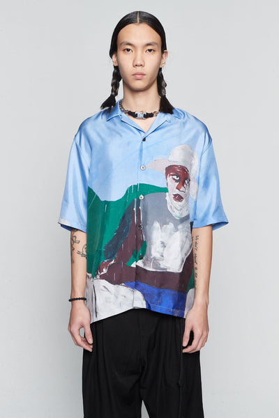 Etudes Studio - Valley Silk Horse Silk Shirt Blue