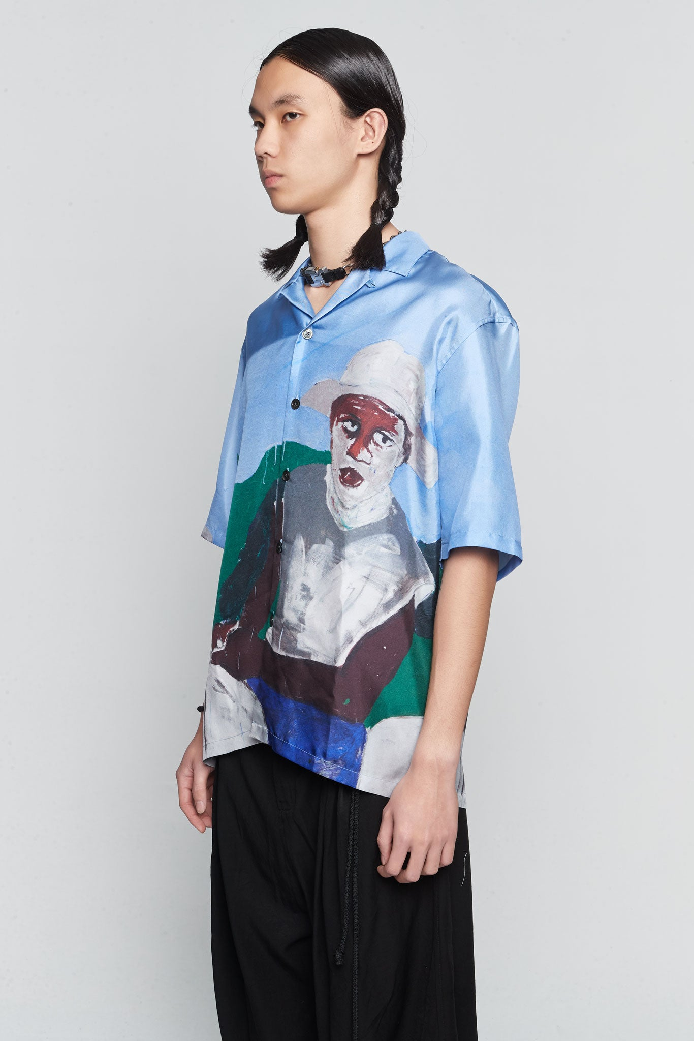 Valley Silk Horse Silk Shirt Blue
