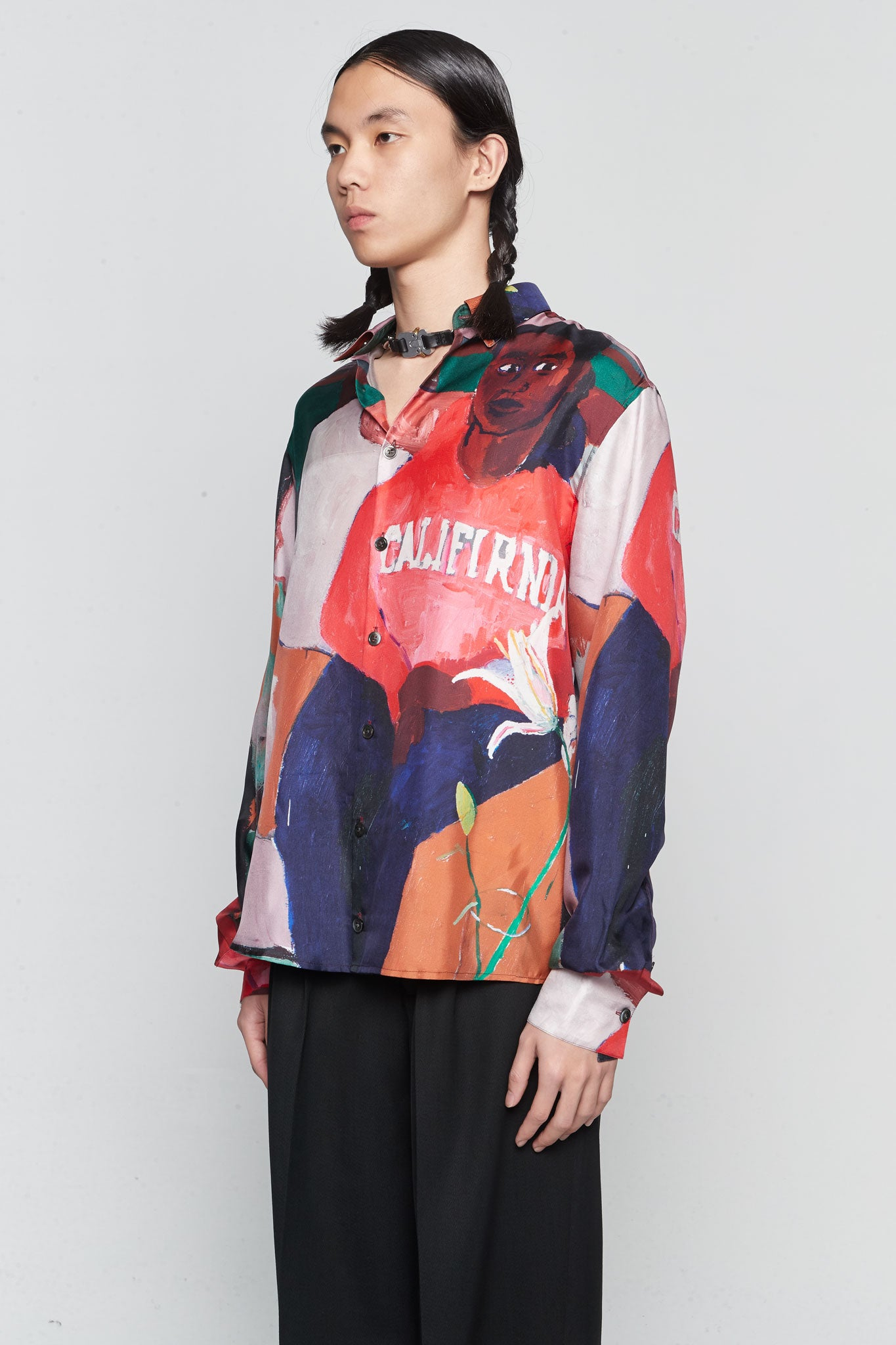 Portrait Silk California Shirt Red