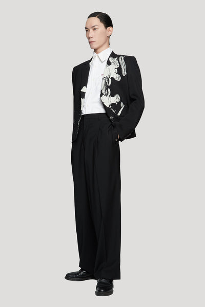 Regard Wool Black Wide Leg Trouser Black