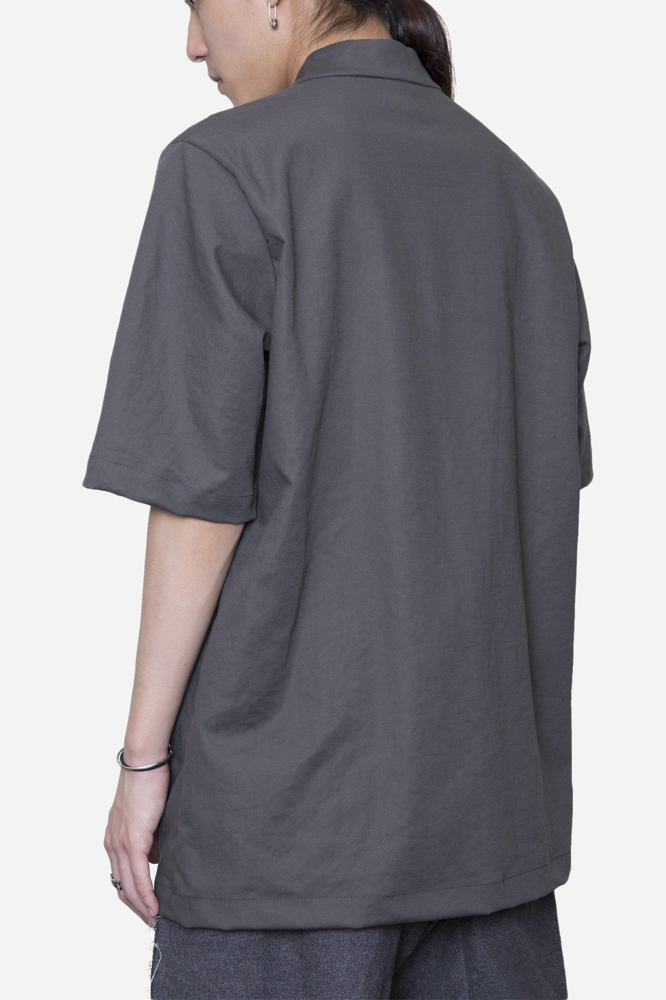 Open Collar Mandarin Shirt Muddy Grey