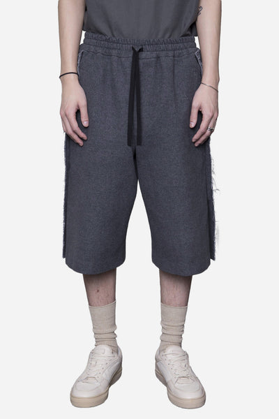 Ne.Sense - Wool Raw Split Bball Long Shorts Sunday Grey