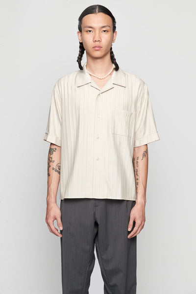 GmbH - LUKA' Wool Mix Shirt Beige W / Stripes