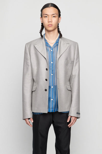 GmbH - Suit Jacket Wool Blend Grey Striped