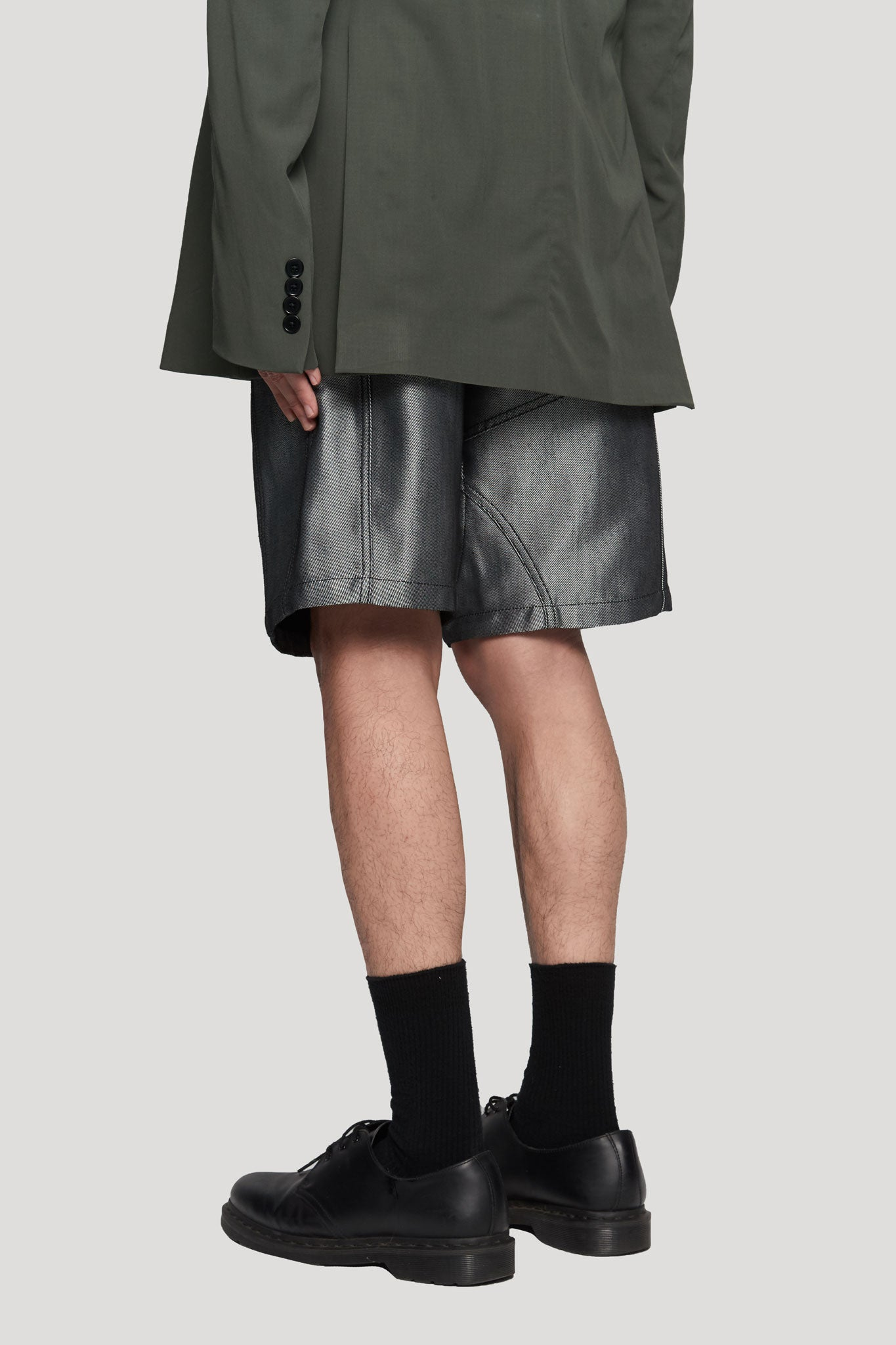 DIRK' Denim Shorts Silver / black