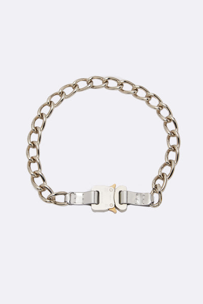 1017 Alyx 9sm - Chain Necklace W/ Leather Details Silver