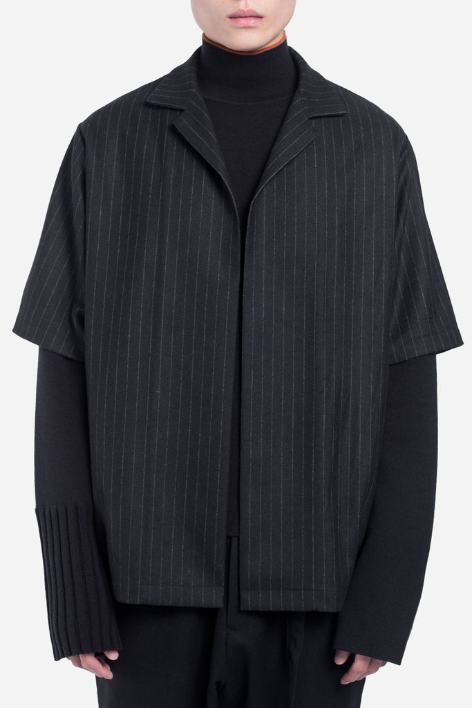 Sane Worker Open Cardigan Dry Onyx Muted Stripes