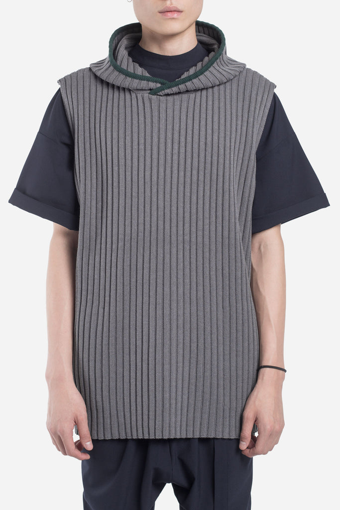 Saks Sleeveless Rib Hoodie Concrete + Deep Forest