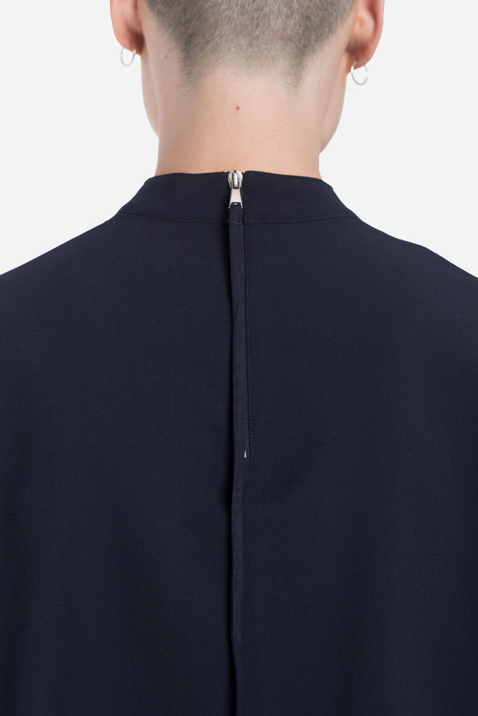 Jess Mock Zip Drop Shoulder Tee Nightfall Navy
