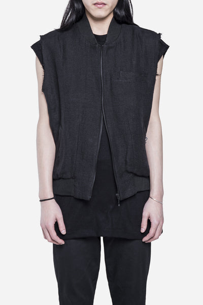 Song for the mute - Linen Bomber Vest Black