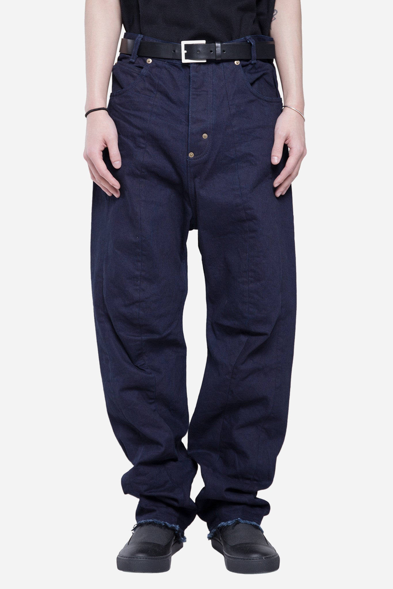 Creased Baggy Denim Indigio