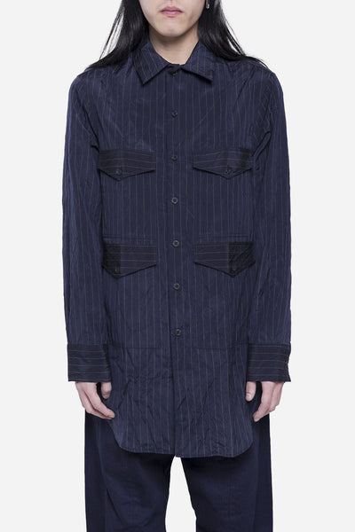 Song for the mute - 4 Pocket Shirt Navy Pinstripe