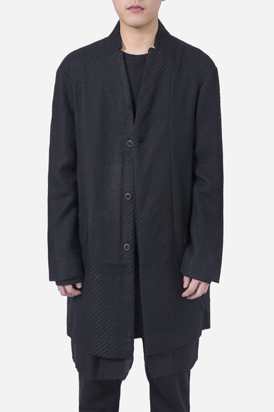Chapter - Sebastian Long Panel Wool Coat Black