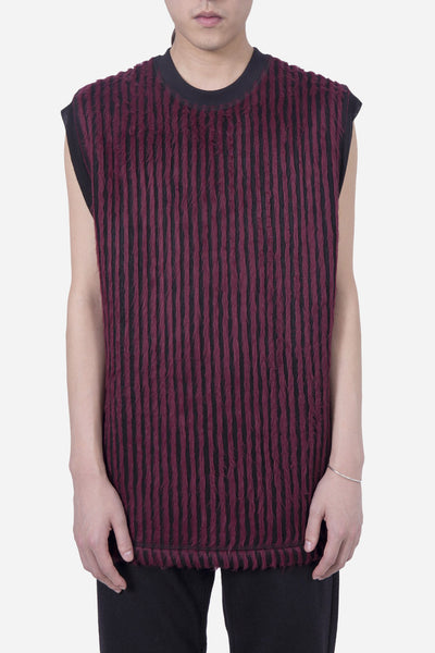 Our Legacy - Hairy Stripe Sleeveless Crew Red/Black
