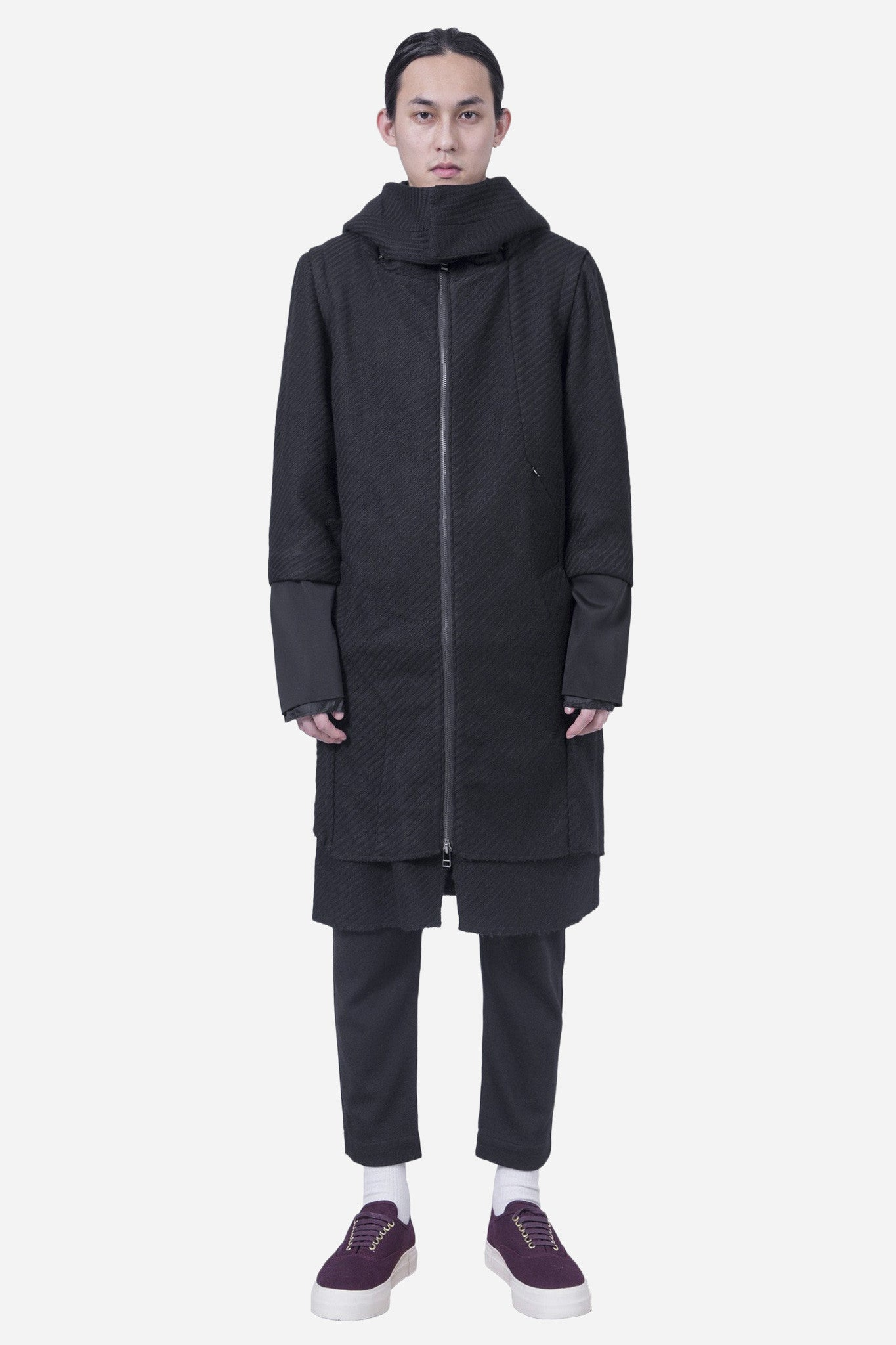 Ludvig Long Hooded Wool Coat Black