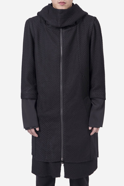 Chapter - Ludvig Long Hooded Wool Coat Black