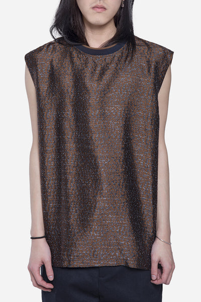 CMMN SWDN - Kian Sleeveless Top Brown Jacquard