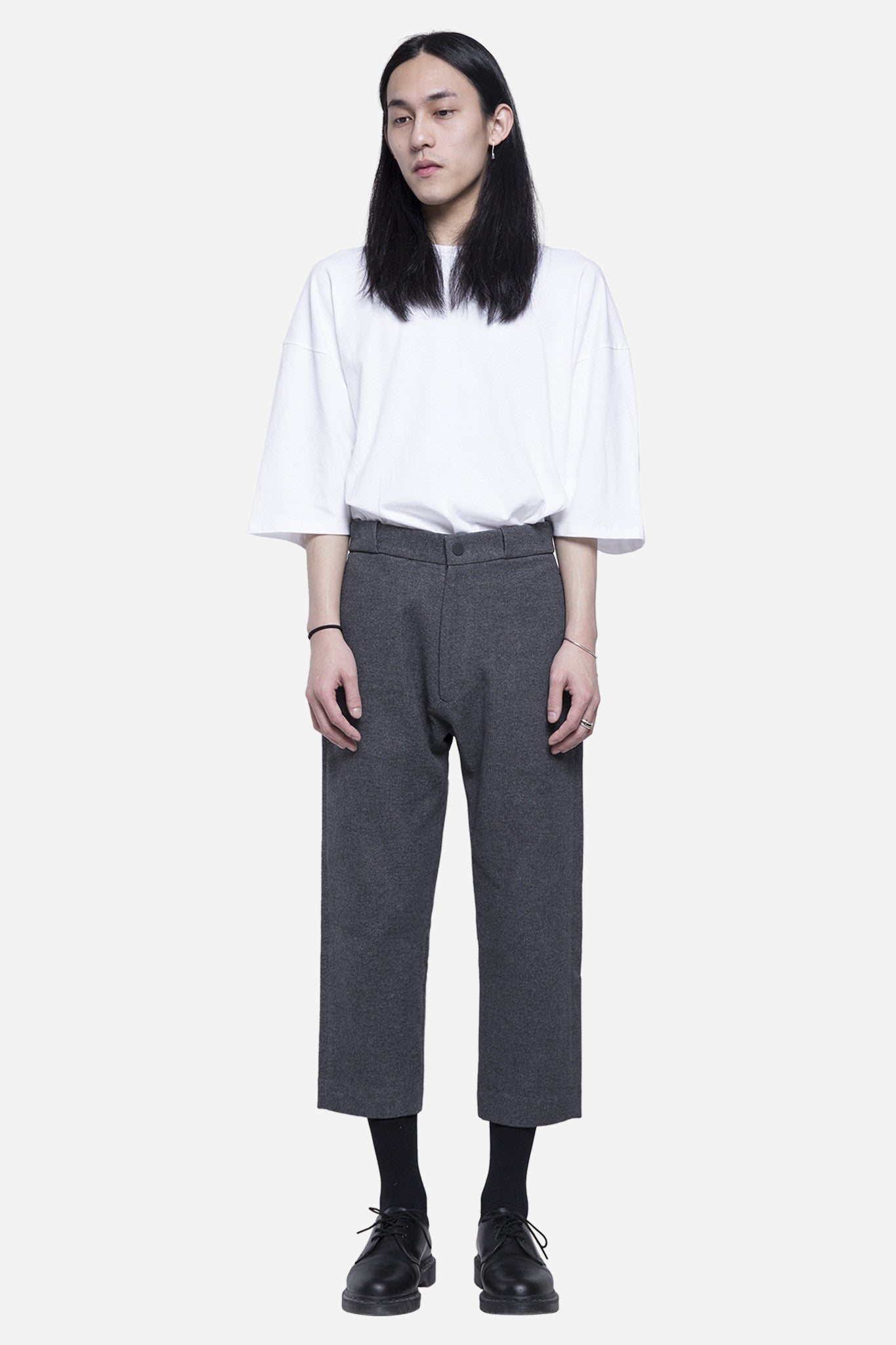 Wool Cropped Snap Trouser Sunday Grey