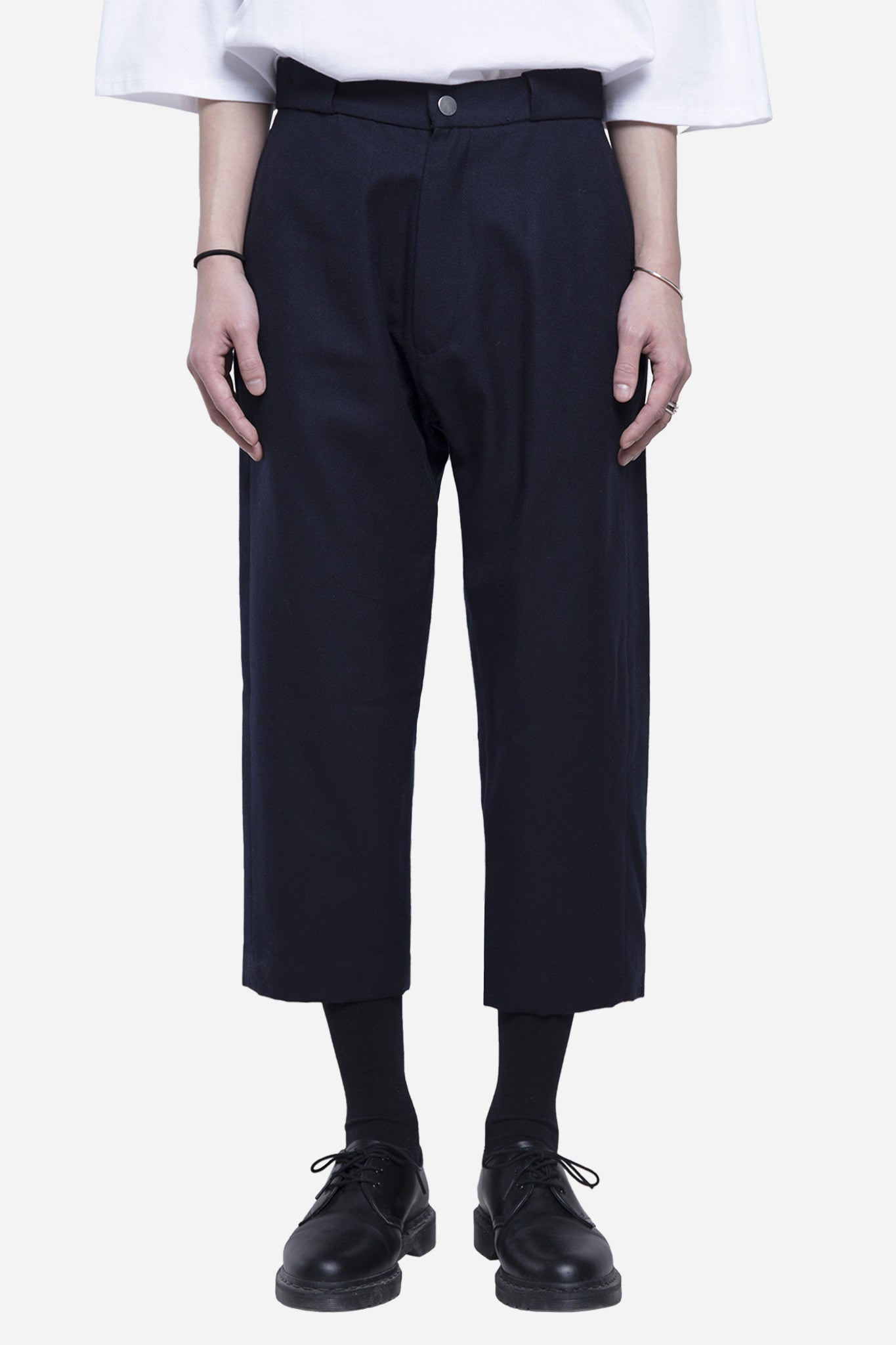 Wool Cropped Snap Trouser Nightfall Navy