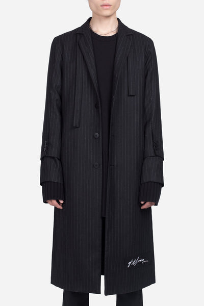 seven seconds of memory - Doc Long Coat Dry Onyx Muted Stripe