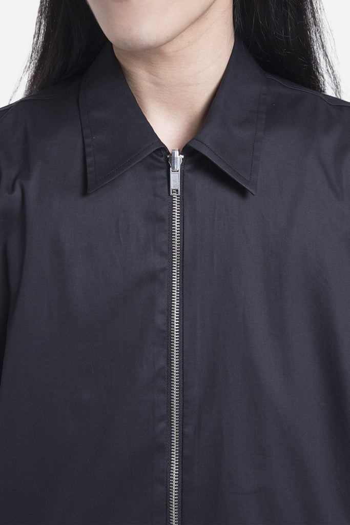 Dante Zip Through Shirt Jacket Black Twill